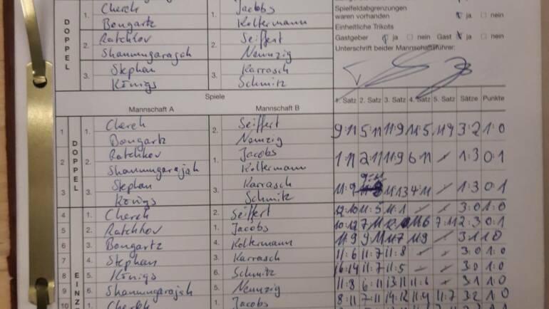 Spielbericht TTF Füchse Myhl vs. 1. Herren